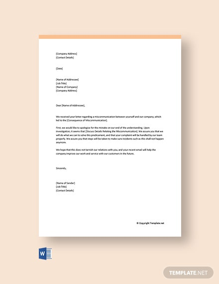 Free Business Apology Letter for Miscommunication