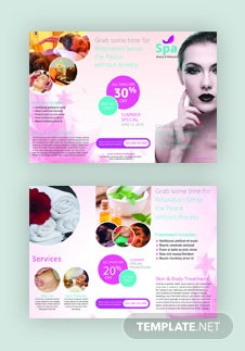 Free Spa Tri-Fold Brochure Template
