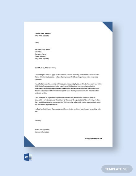 Free Cover Letter For Internship With No Experience