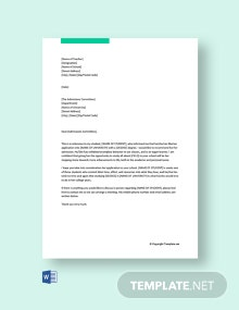 Free Reference Letter For Student