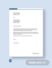 Free Termination Acceptance Letter by employee