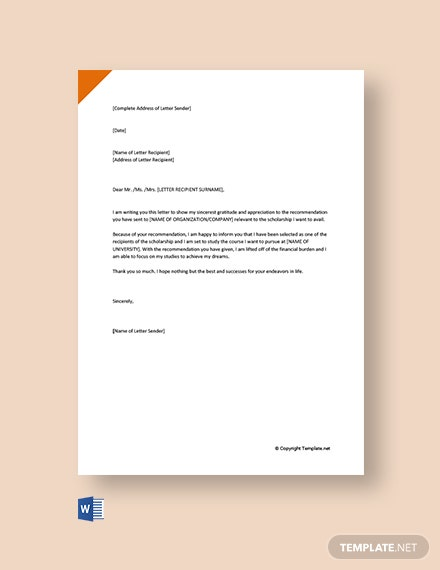 Free Thank You Letter For Recommendation Letter For Scholarship