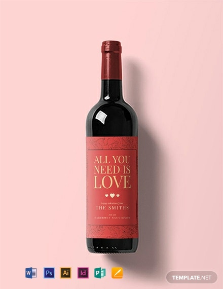 Free Valentine's Day Wine Label Template