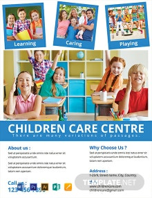 Free Children Care Center Flyer Template
