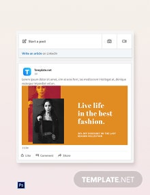 Free Clean Fashion Sale Linkedin Blog Post Template