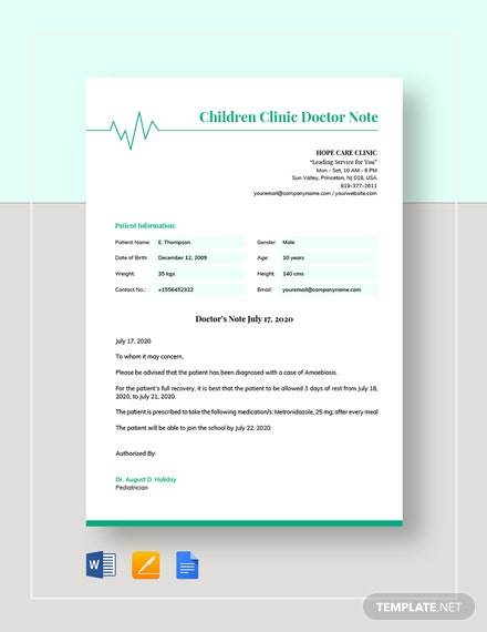 Children's Clinic Doctors Note Template