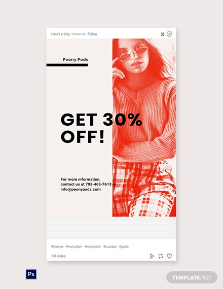 Free Designer Fashion Sale Tumblr Post Template