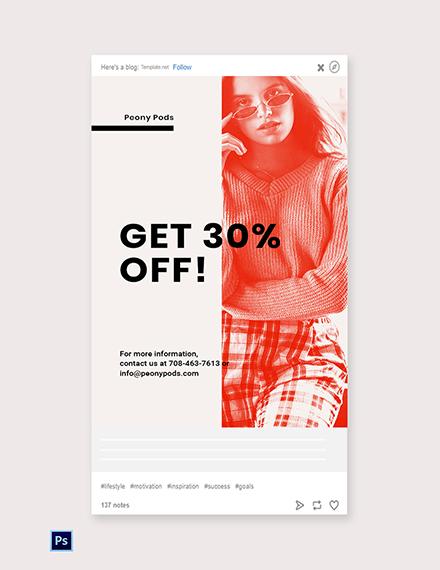 Free Designer Fashion Sale Tumblr Post Template