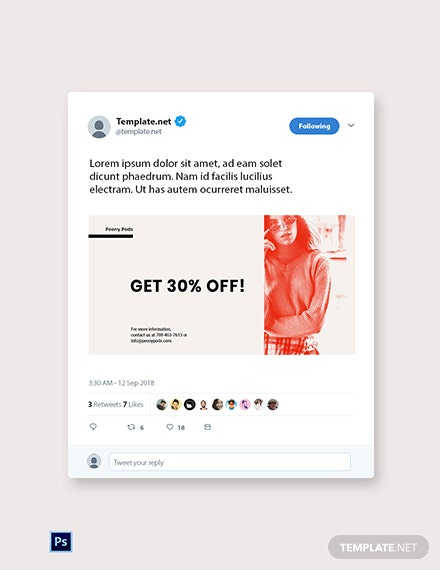 Free Designer Fashion Sale Twitter Post Template