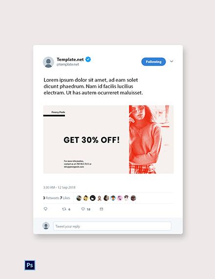 Free Designer Fashion Sale Twitter Post Template