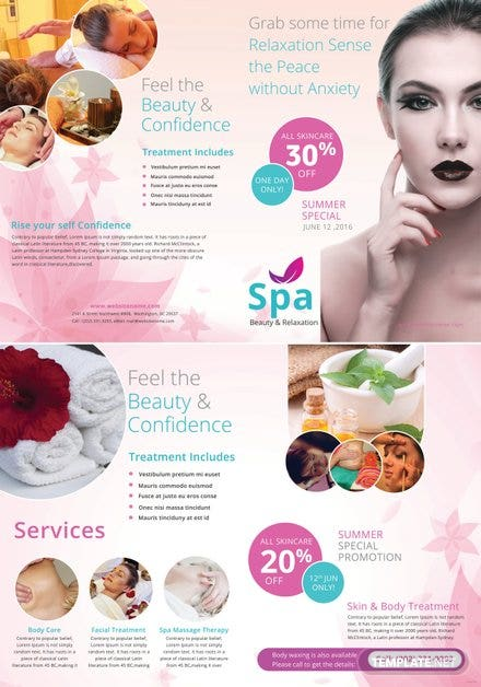 Free Spa Bi-Fold Brochure Template