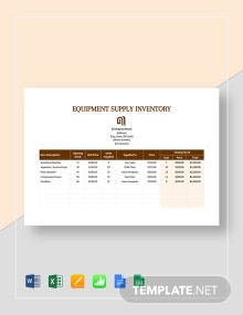 Equipment Supply Inventory Template