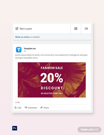 Free Editable Fashion Sale LinkedIn Blog Post Template