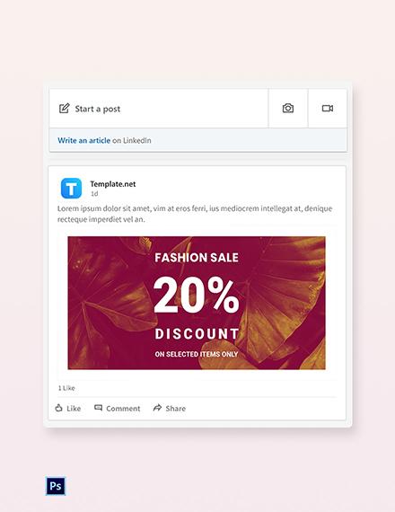 Free Editable Fashion Sale LinkedIn Blog Post Template