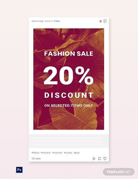 Free Editable Fashion Sale Tumblr Post Template