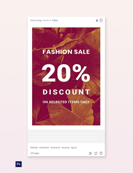 Free Editable Fashion Sale Tumblr Post Template