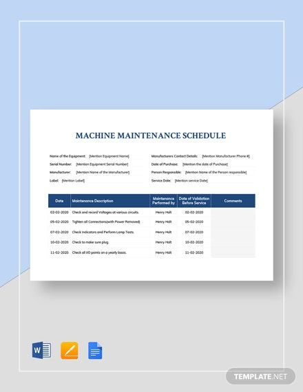 Machine Maintenance Schedule Template