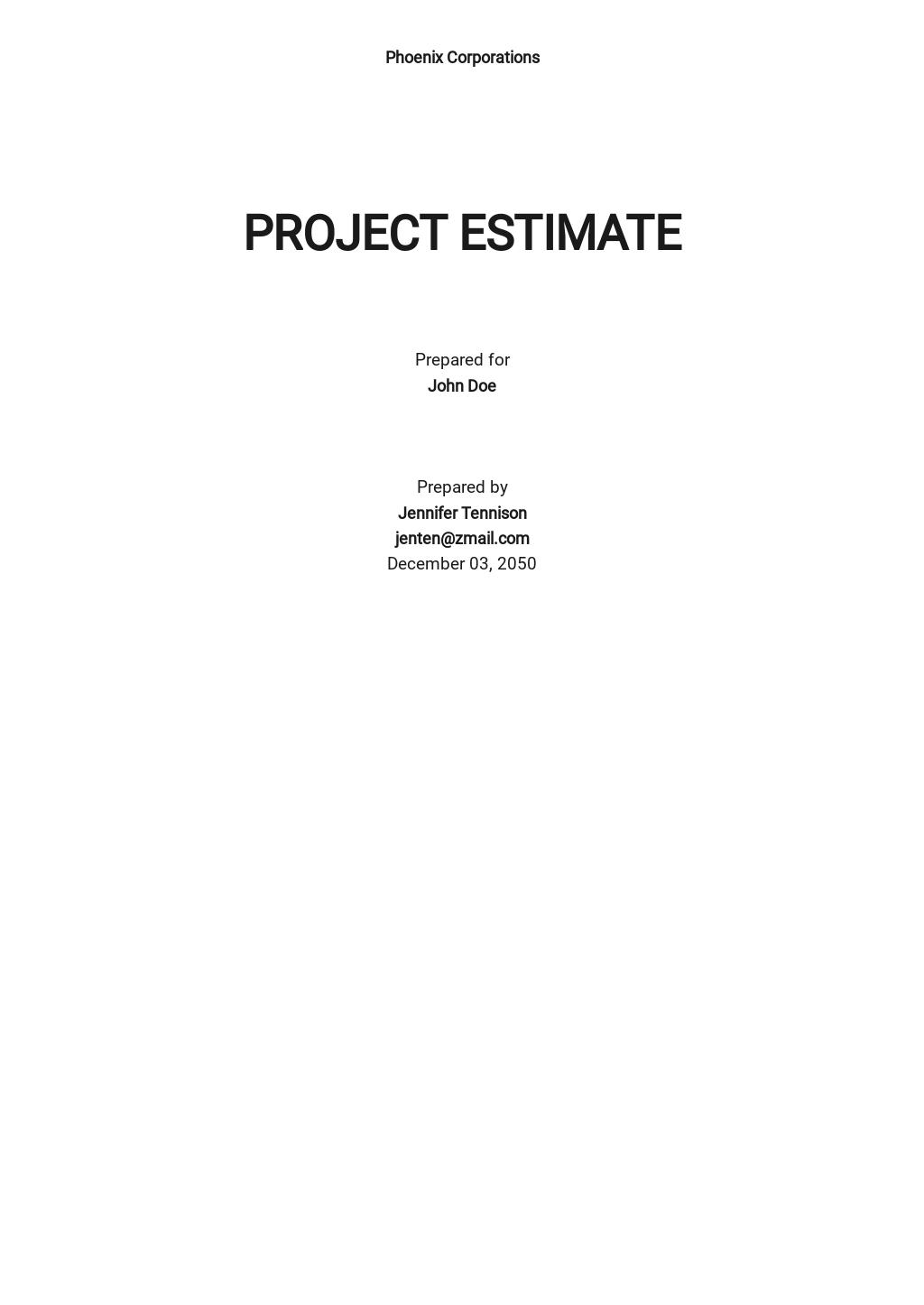 Project Estimate Template