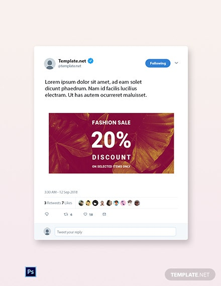 Free Editable Fashion Sale Twitter Post Template