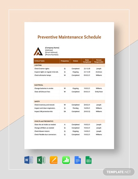 Sample Preventive Maintenance Schedule Template