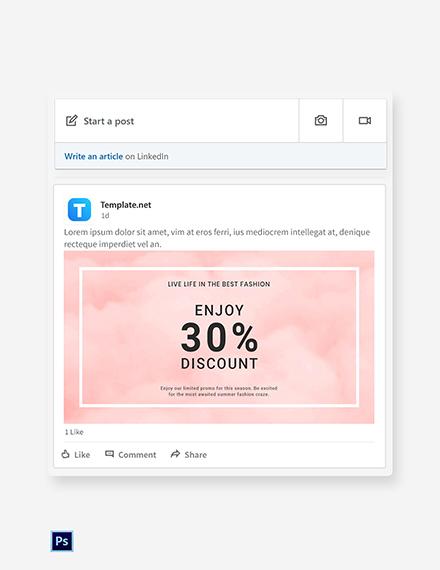 Free Seasonal Fashion Sale Linkedin Blog Post Template