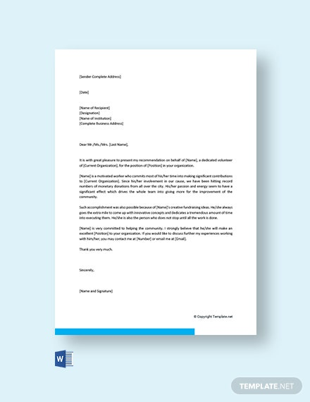 Free Community Service Recommendation Letter