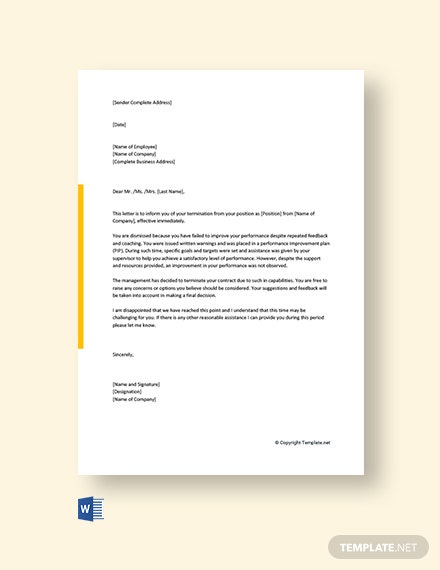 Free Employee Termination Letter Due To Poor Performance