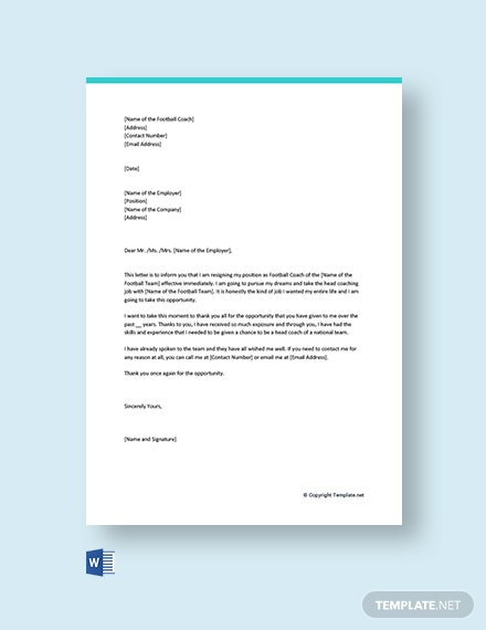 Free Football Coach Resignation Letter