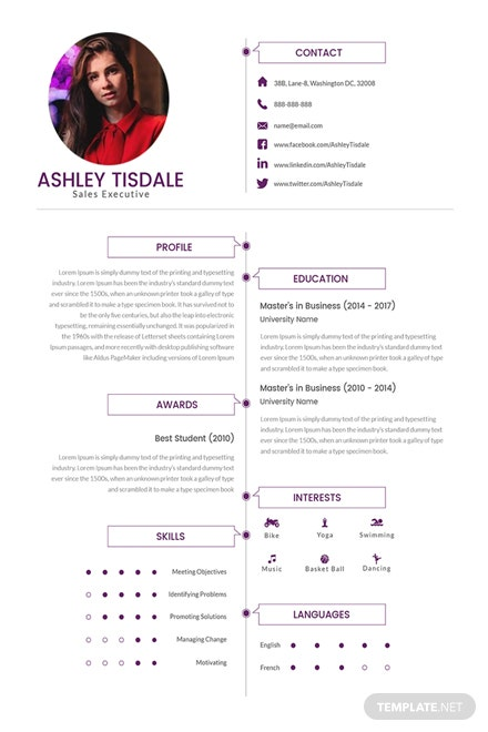 Free MBA Sales Executive Resume Template