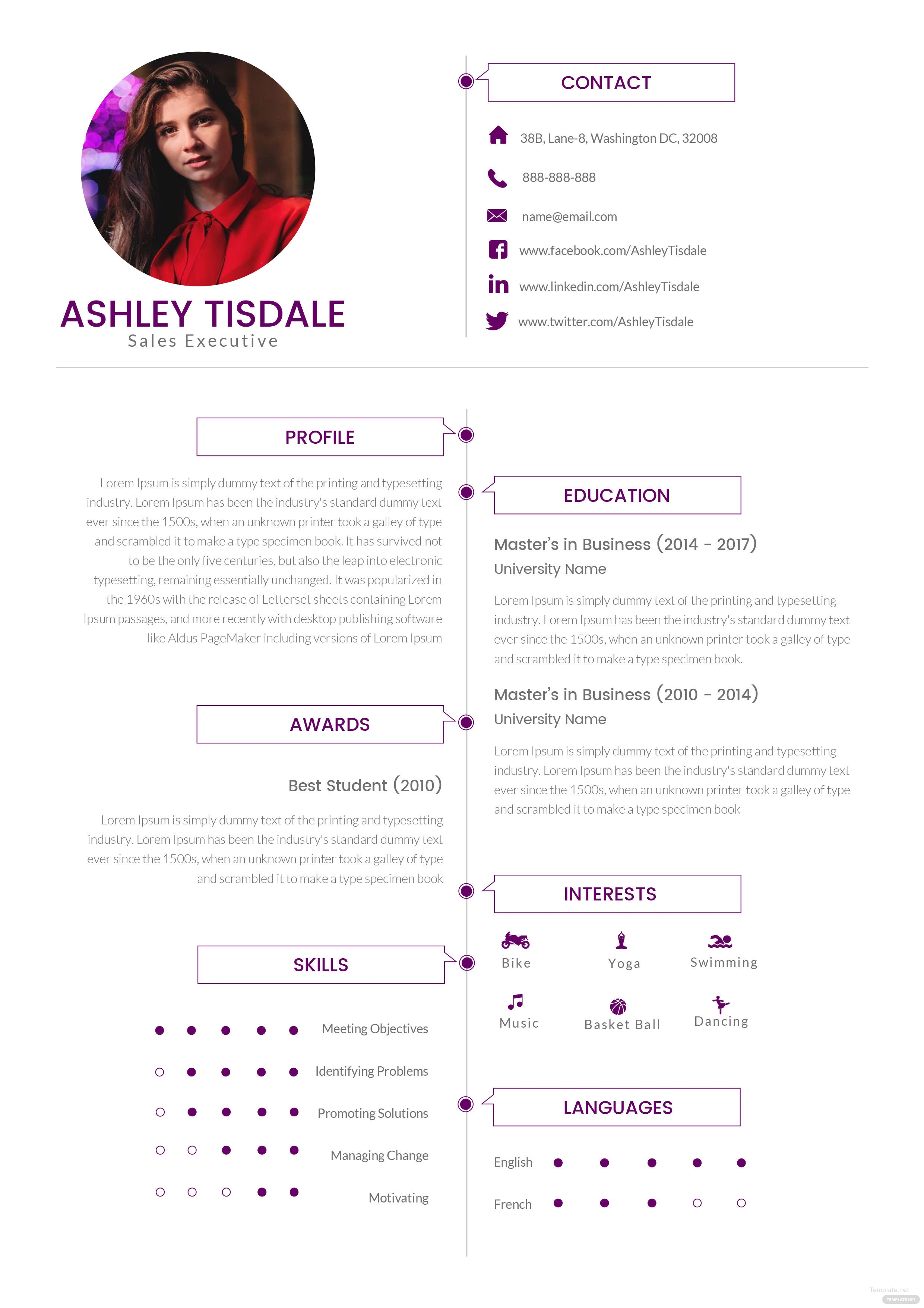 Free Mba Sales Executive Resume Template In Adobe Photoshop