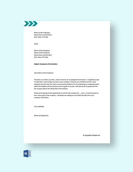 Free Job Termination Acceptance Letter