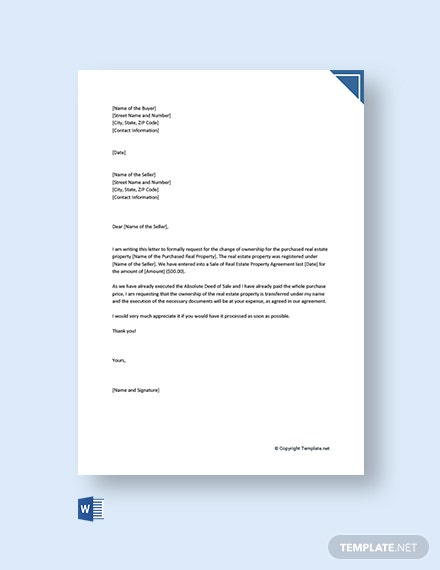 Free Letter Of Request For Change Of Ownership