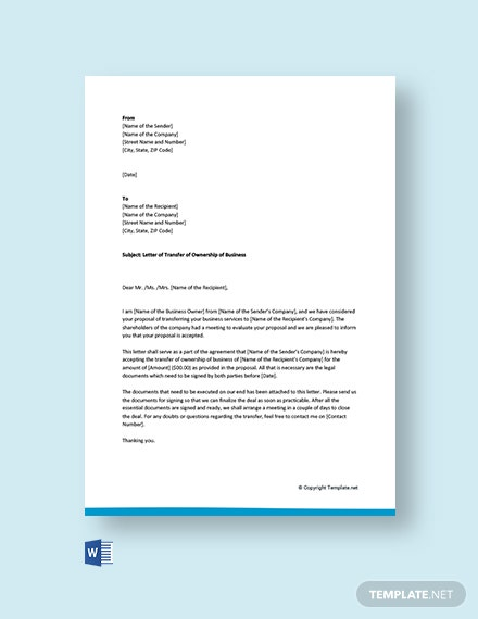 FREE Ownership Transfer Letter Template - Word (DOC ...