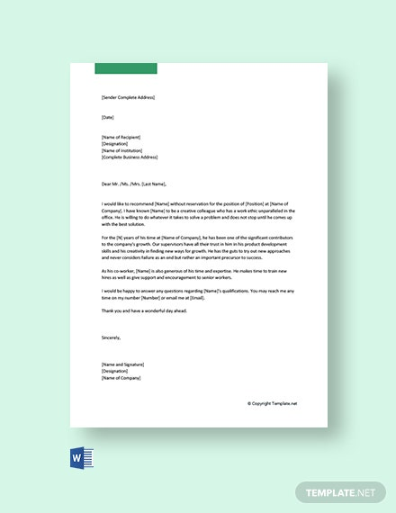 Free Recommendation Letter for Colleague
