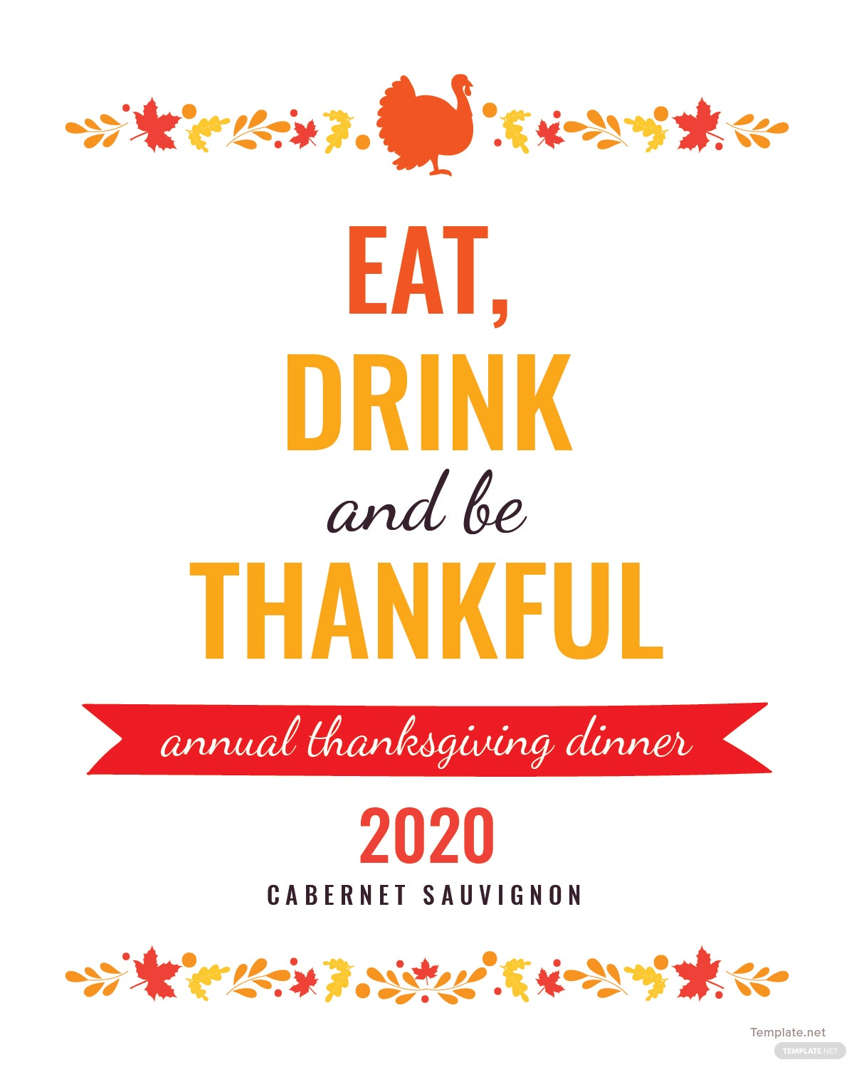 Free Thanksgiving Wine Bottle Label Template In PSD, MS