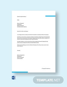 Free Termination Of Temporary Appointment Letter
