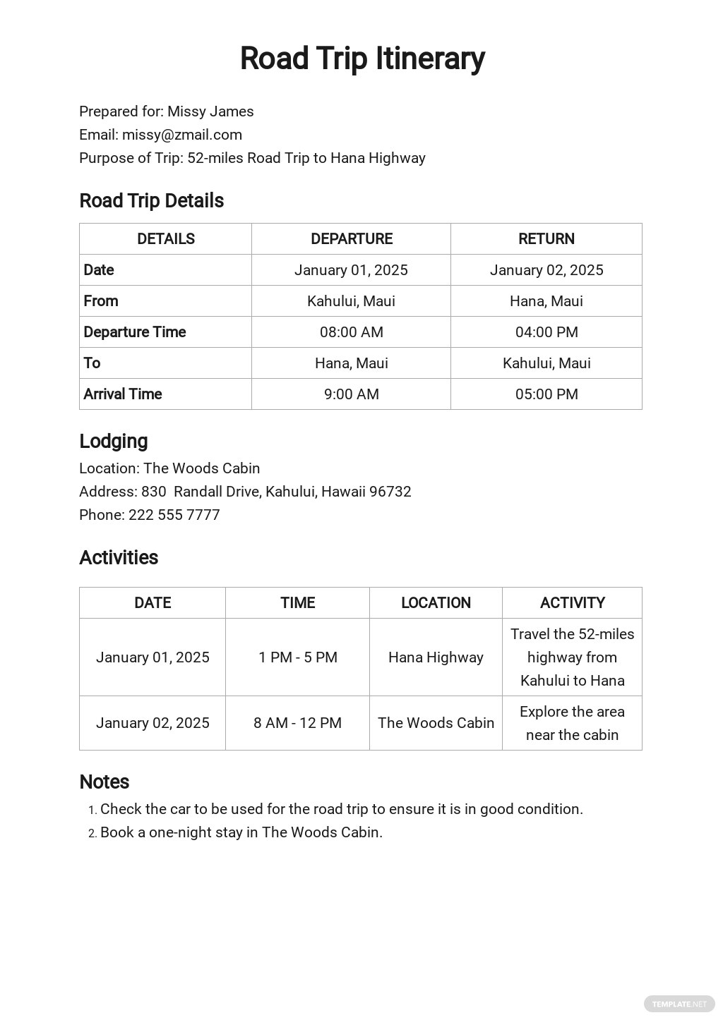 Best Road Trip Itinerary Template