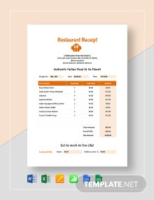 Simple Restaurant Receipt Template