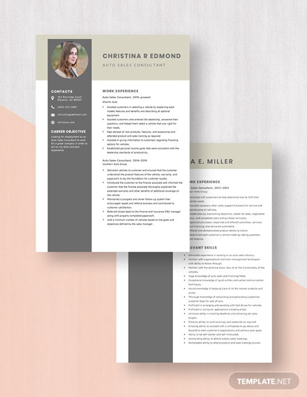 Auto Sales Consultant Resume Template Download
