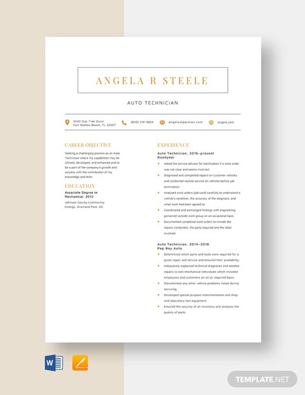 Auto Technician Resume Template