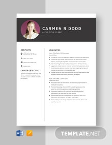 Auto Title Clerk Resume Template