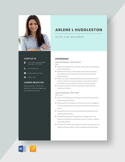 AutoCAD Designer Resume Template
