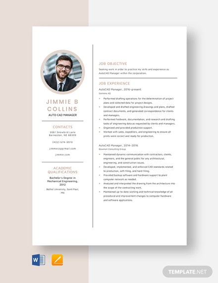 AutoCAD Manager Resume Template