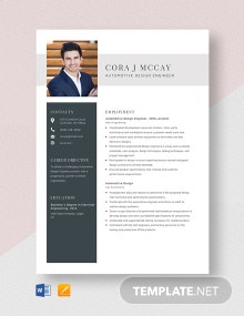 Automotive Design Engineer Resume Template