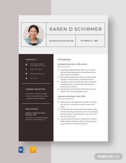 Automotive Electrician Resume Template