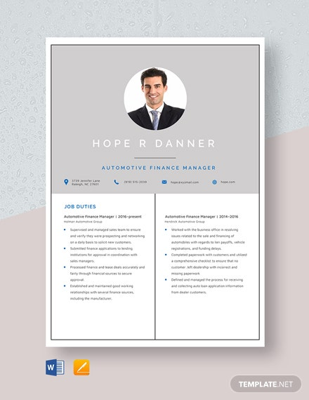Automotive Finance Manager Resume Template