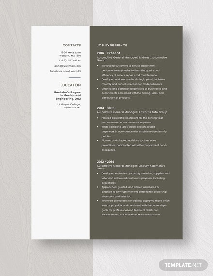 Automotive General Manager Resume Template