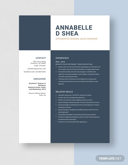 Automotive General Sales Manager Resume Template