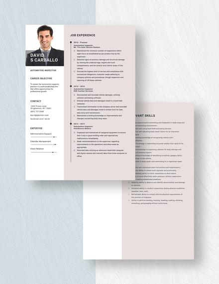 Automotive Inspector Resume Download