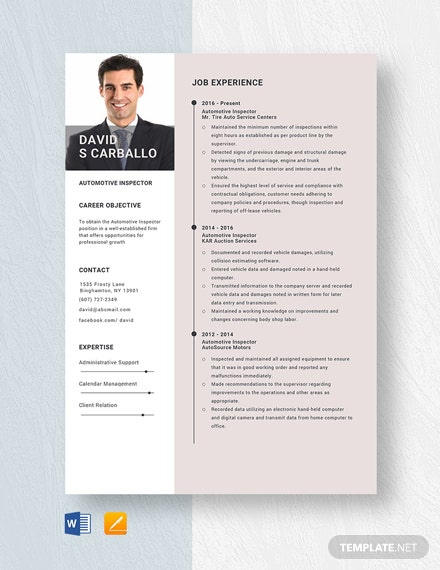 Automotive Inspector Resume Template